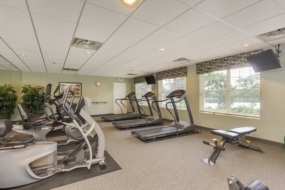 Fitness room at Applewood Pointe of New Brighton in New Brighton, Minnesota.