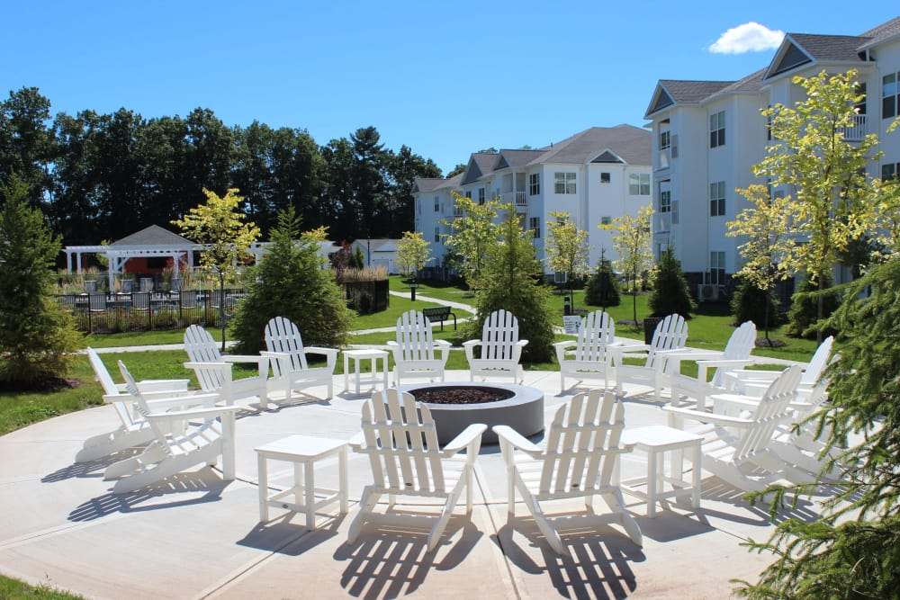 Outside chairs at The Pointe at Dorset Crossing in Simsbury, Connecticut