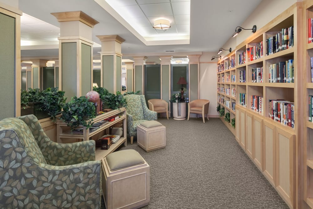 Beautiful library of San Jose senior living
