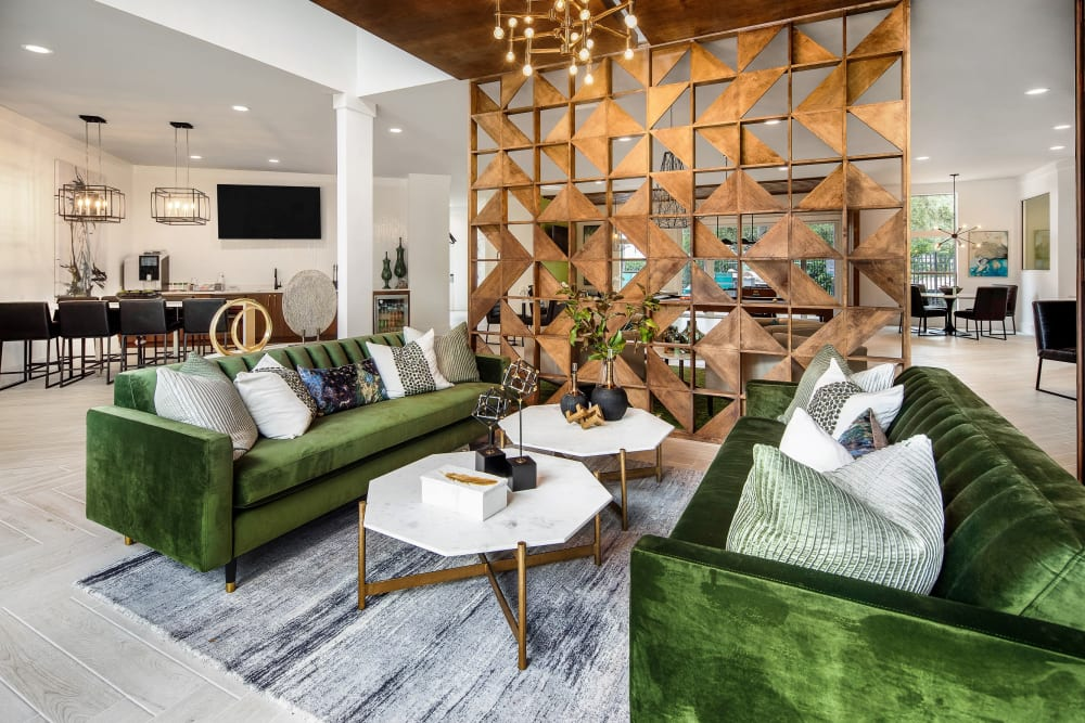 Lounge areas in the lobby at Amira at Westly in Tampa, Florida