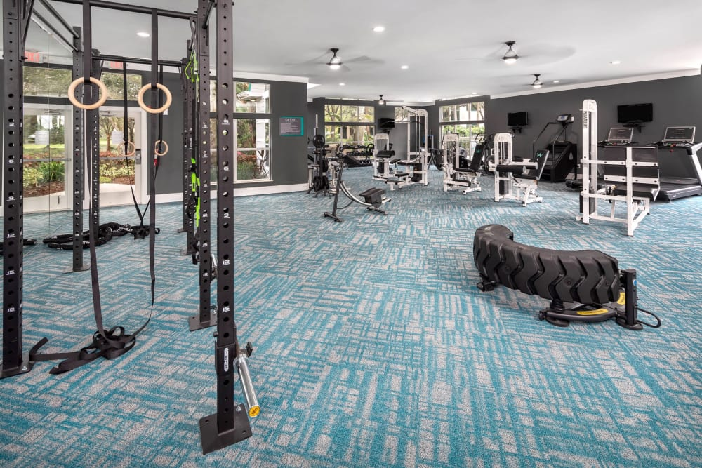 Well-equipped onsite fitness center at Amira at Westly in Tampa, Florida