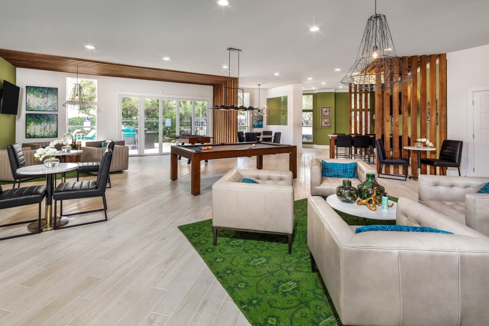 Game area in the resident clubhouse at Amira at Westly in Tampa, Florida