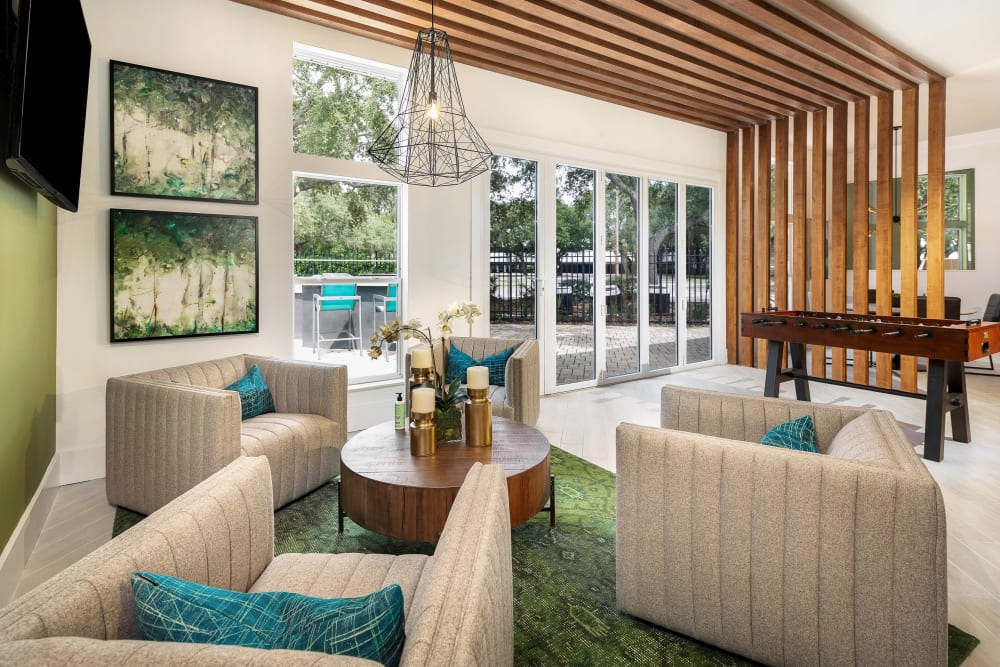 Bright and luxuriously furnished lobby interior at Amira at Westly in Tampa, Florida