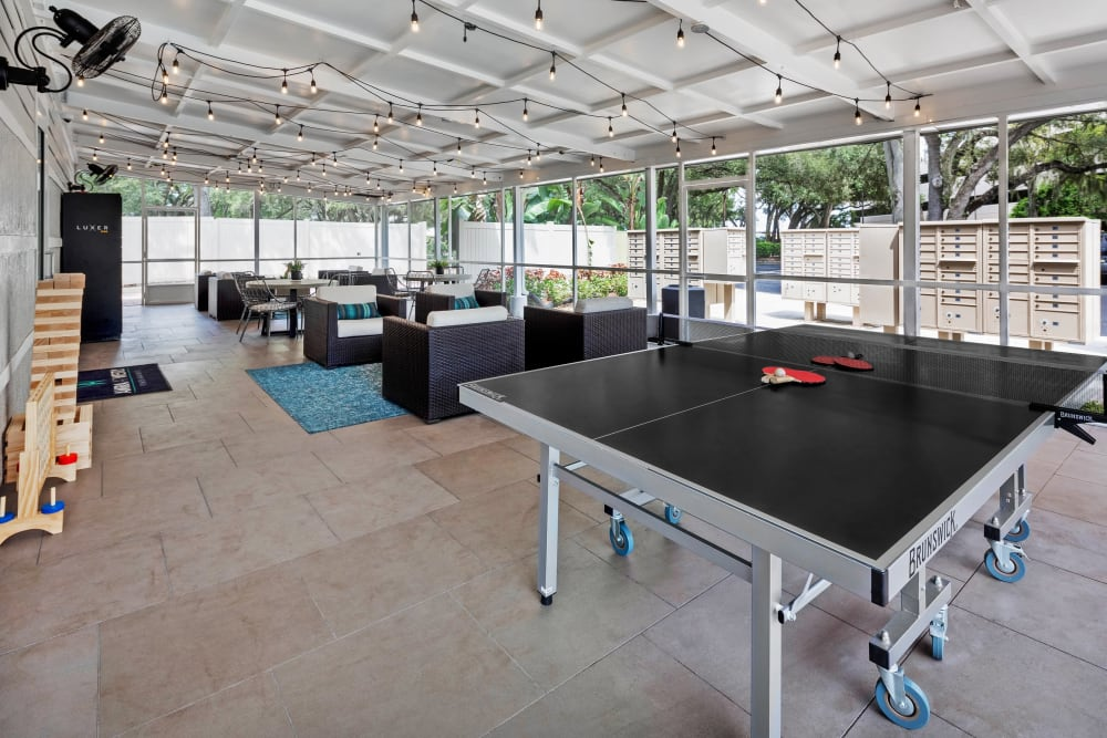Ping pong tables and more in the game room at Amira at Westly in Tampa, Florida