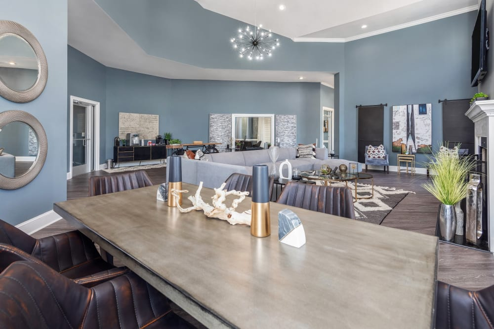 Modern furnishings in the clubhouse at Highlands at Alexander Pointe in Charlotte, North Carolina