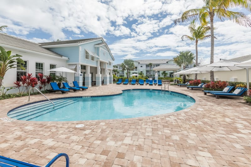 Resort-style swimming pool flanked by chaise lounge chairs and lush vegetation at High Ridge Landing in Boynton Beach, Florida