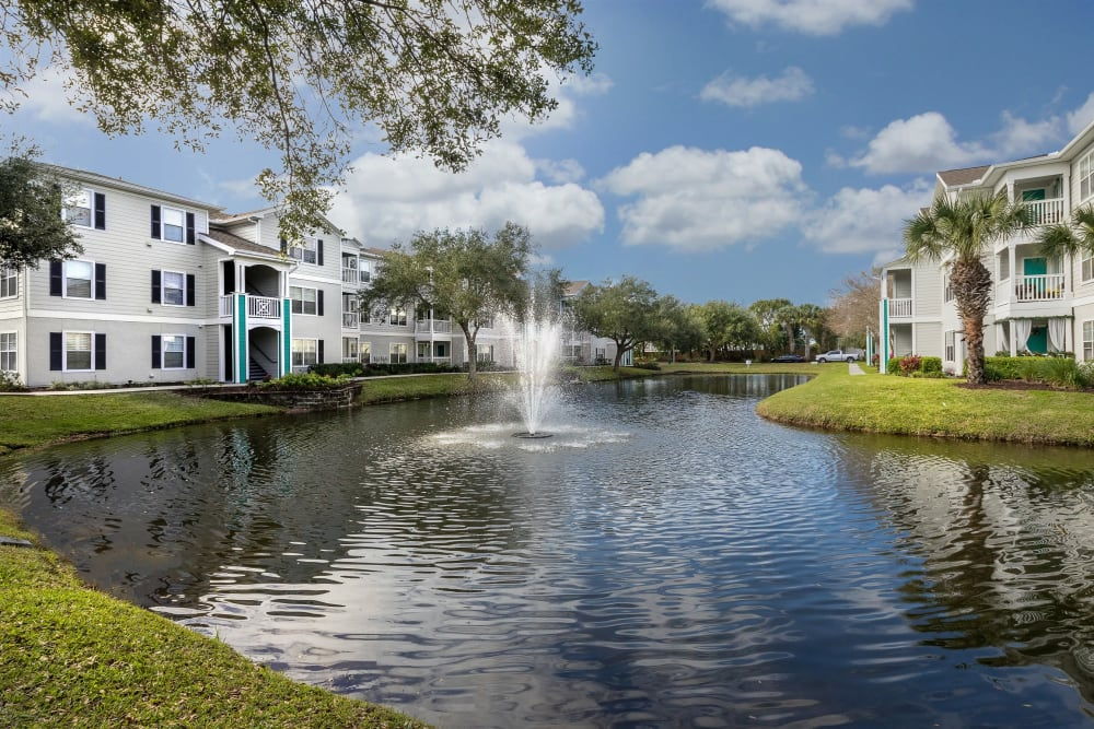 Fountain in the onsite lake at Amira at Westly in Tampa, Florida