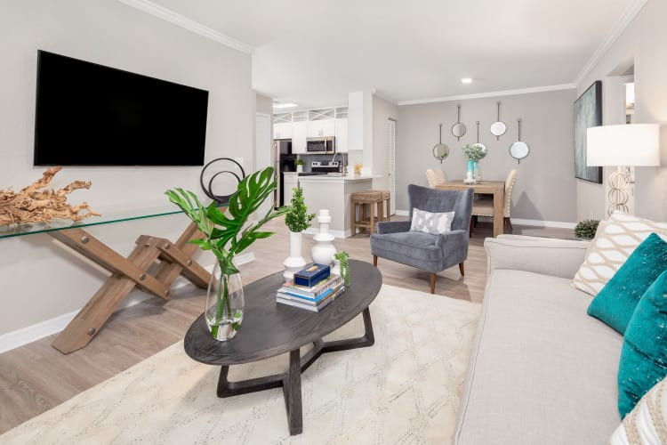 Spacious and well-furnished open-concept living area in a model home at Amira at Westly in Tampa, Florida