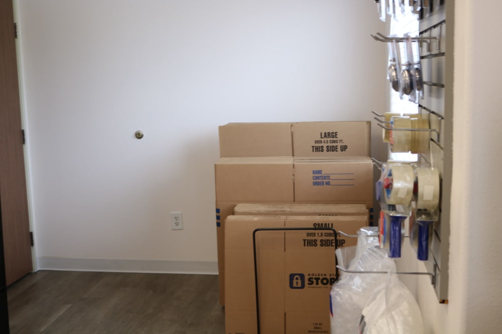 Moving supplies available at Golden State Storage - Horizon Ridge in Henderson, Nevada