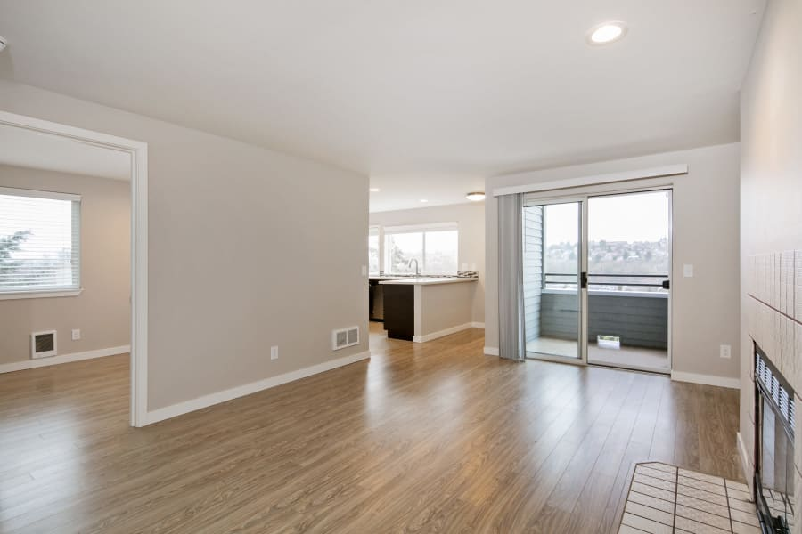 Living room at Aire Apartments in Seattle, Washington