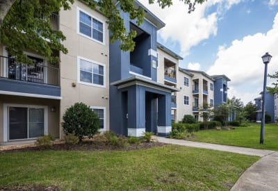 Exterior view of resident buildings at Mezza in Jacksonville, Florida