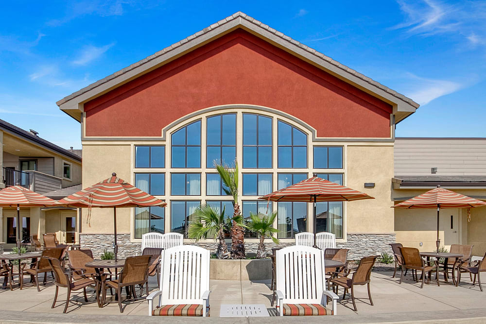 Patio at our senior living facility in Rocklin