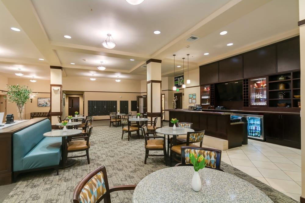 Dining area with lounge at Merrill Gardens at Kirkland in Kirkland, Washington.