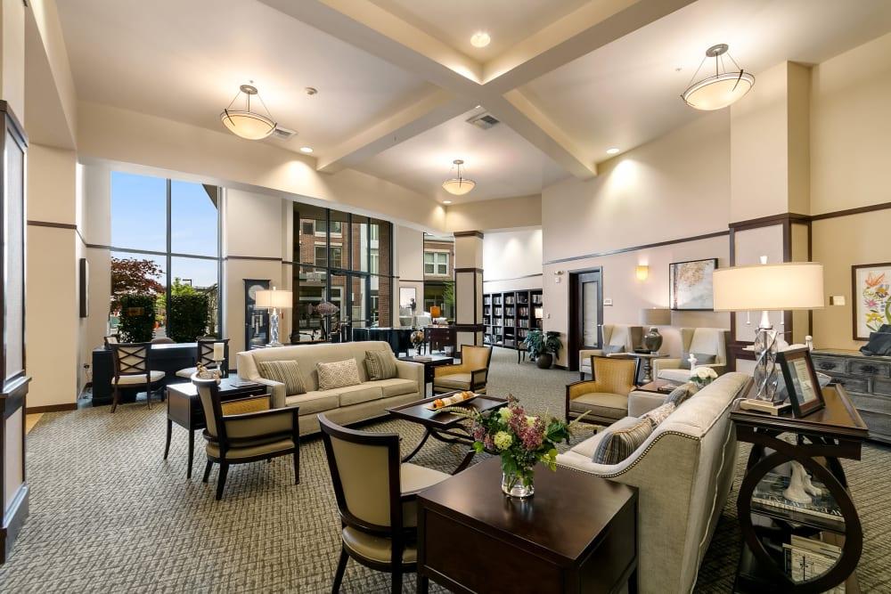 The lounge at Merrill Gardens at Kirkland in Kirkland, Washington.