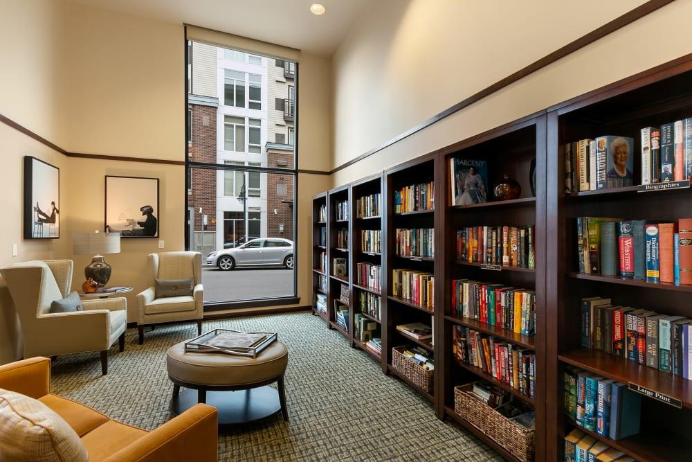 The library at Merrill Gardens at Kirkland in Kirkland, Washington.