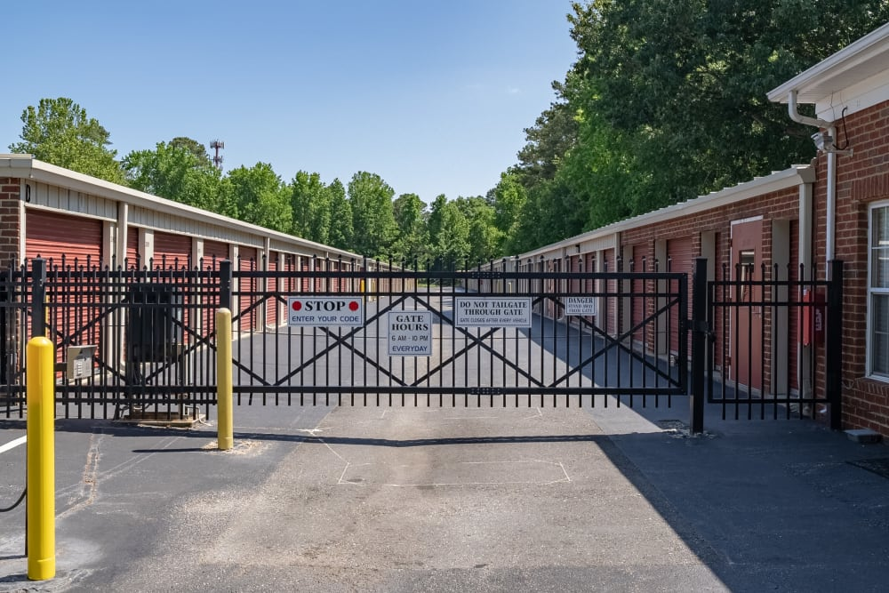 The security gate at Victory Personal Storage in Yorktown, Virginia