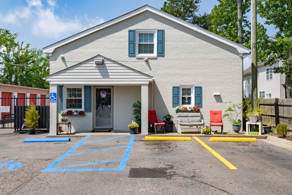 The front entrance to our office at SecurityPlus Self Storage in Virginia Beach, Virginia