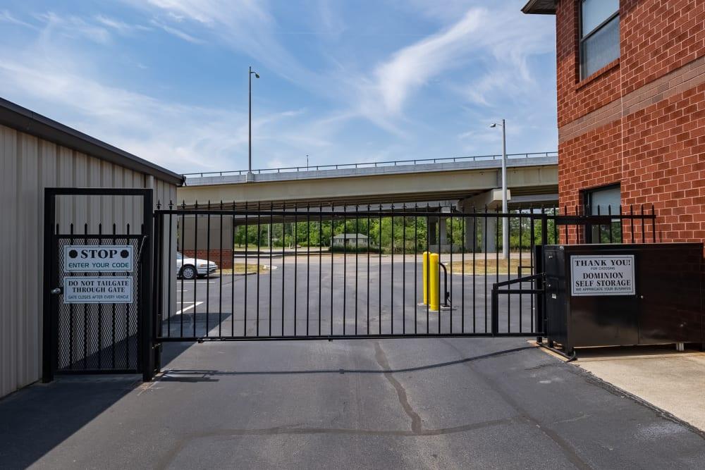 Security gate at Dominion Self Storage in Chesapeake, Virginia