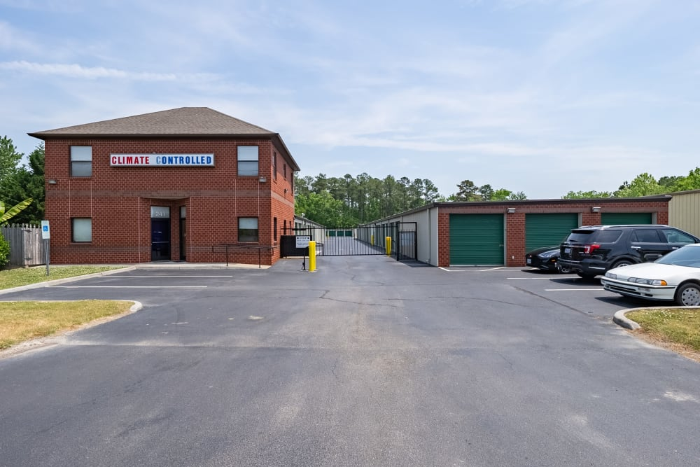 The gated entrance to Dominion Self Storage in Chesapeake, Virginia