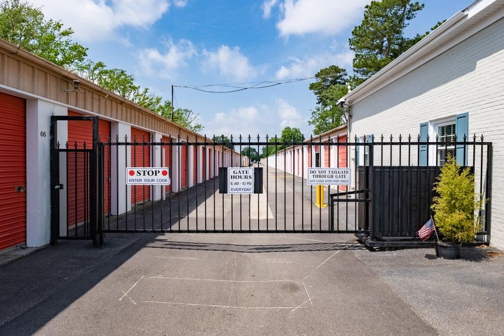 The gated entrance to SecurityPlus Self Storage in Virginia Beach, Virginia