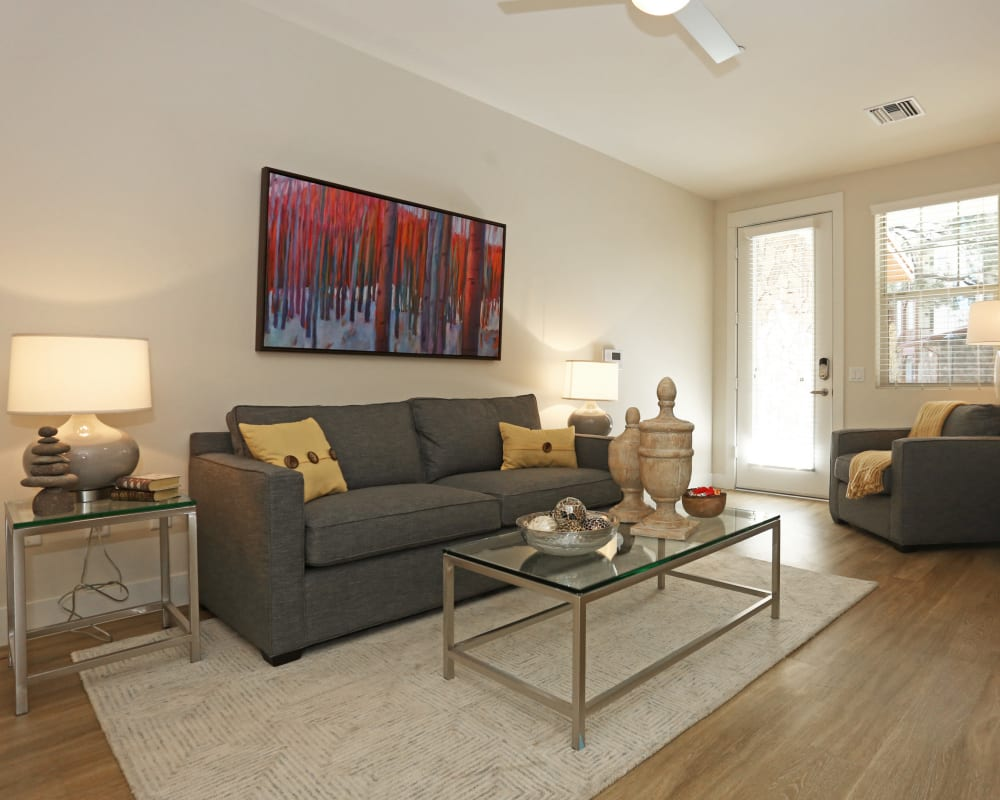 Luxurious decor in a model home's open-concept living areas at Mountain Trail in Flagstaff, Arizona
