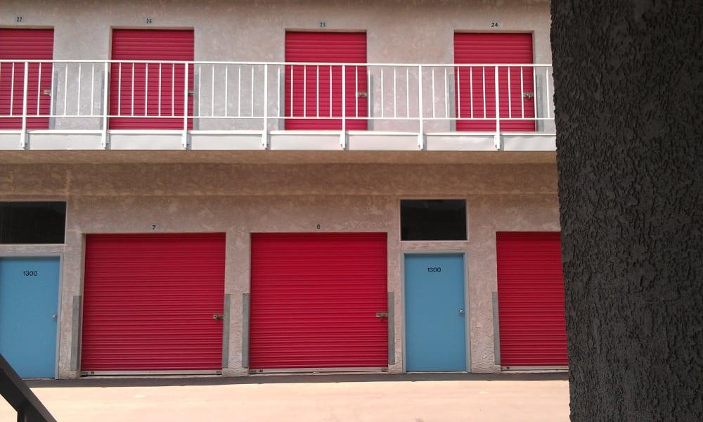 Ground-level exterior storage units at VP Self Storage in Tarzana, California