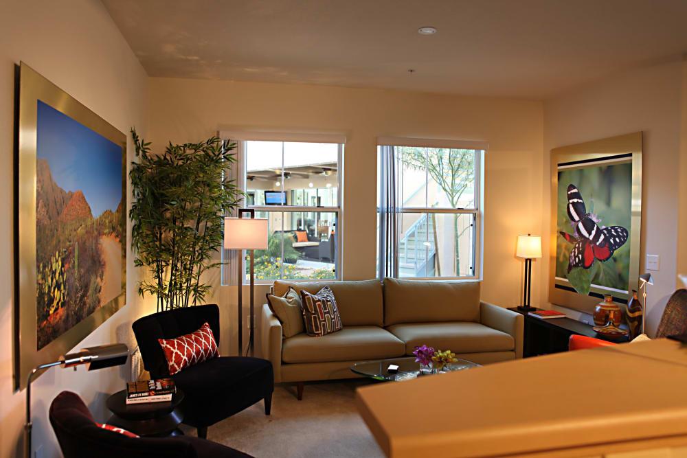 Modern living room at Sage Luxury Apartment Homes in Phoenix, Arizona