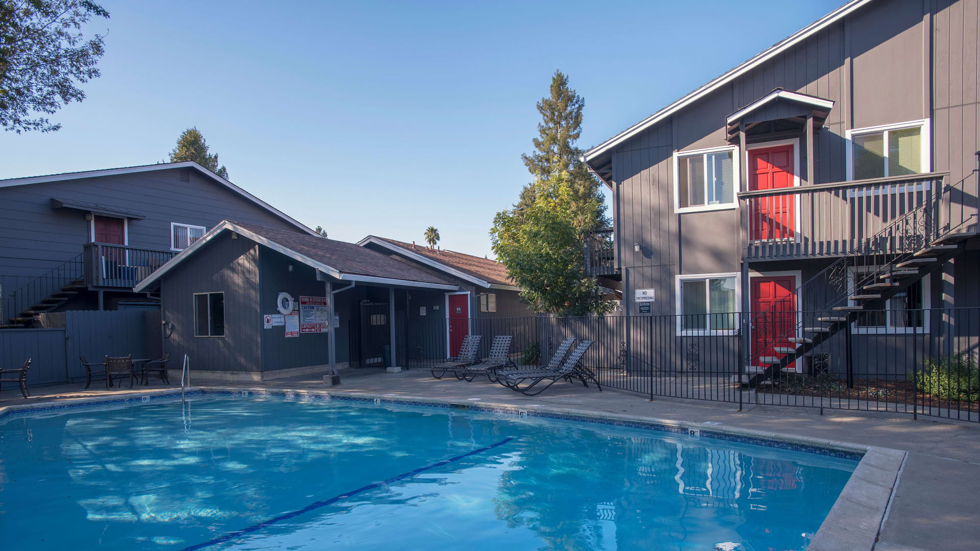 Modern swimming pool at Spring Lake Apartment Homes in Santa Rosa, California