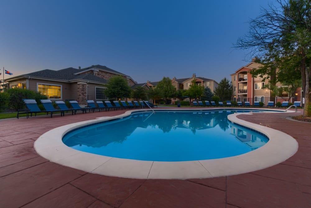 Sparkling pool at Whisper Creek Apartment Homes in Lakewood, Colorado