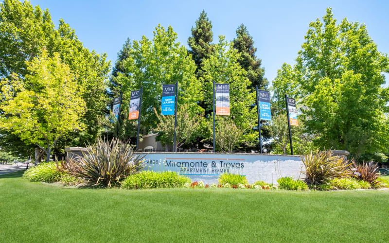 Lush Landscaping surrounding monument sign at Miramonte and Trovas in Sacramento, California