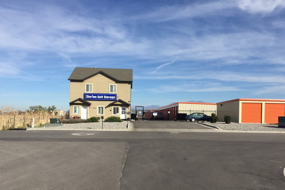 The front of the building at Stor'em Self Storage in Payson, Utah