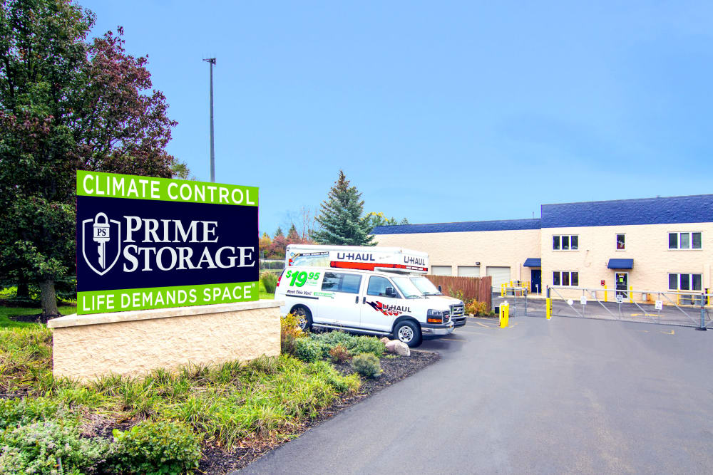 Front entrance at Prime Storage in West Chicago, Illinois