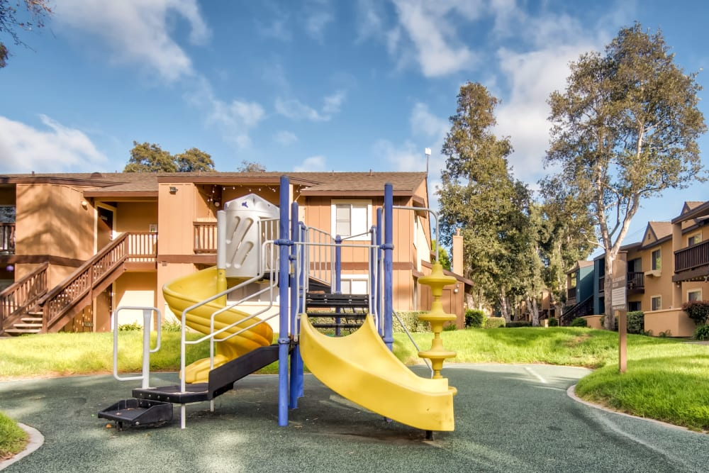 Playground surrounded by a lush green landscape at Terra Nova Villas in Chula Vista, California