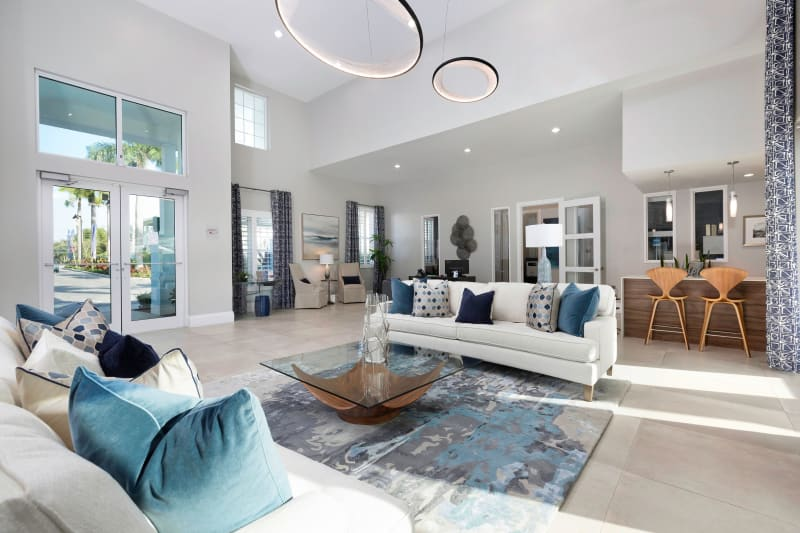 Bright and welcoming lobby interior with modern furnishings at High Ridge Landing in Boynton Beach, Florida