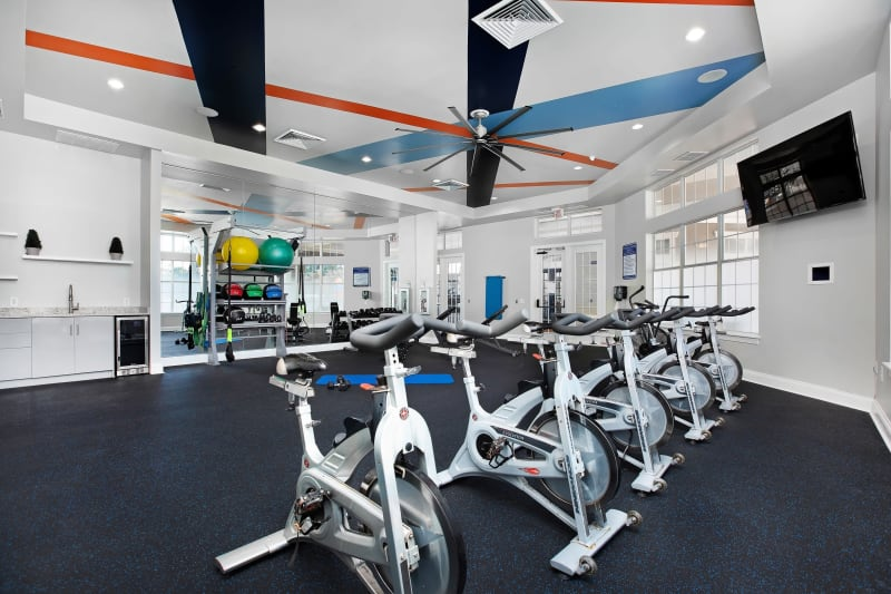 Very well-equipped onsite fitness center at The Aspect in Kissimmee, Florida