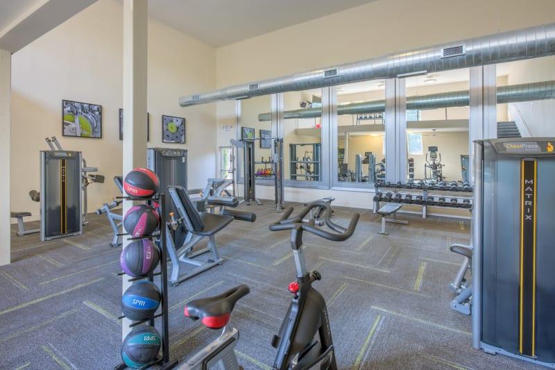 Large fitness center at Presley Oaks in Charlotte, North Carolina