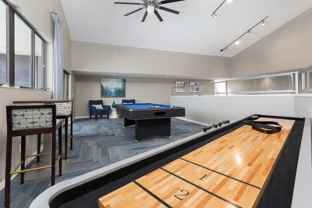 Game room in the clubhouse at WestEnd At 76Ten in Tampa, Florida