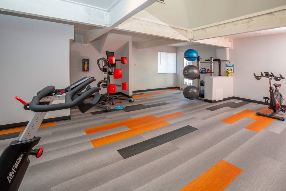 Clean, modern community gym, newly renovated at Shadowbrook Apartments in West Valley City, Utah