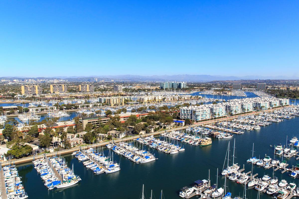 Aerial view of the boat slips at the marina at Esprit Marina del Rey in Marina del Rey, California