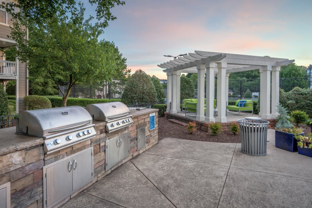 Barbecue area near the pool at The Mark in Raleigh, North Carolina
