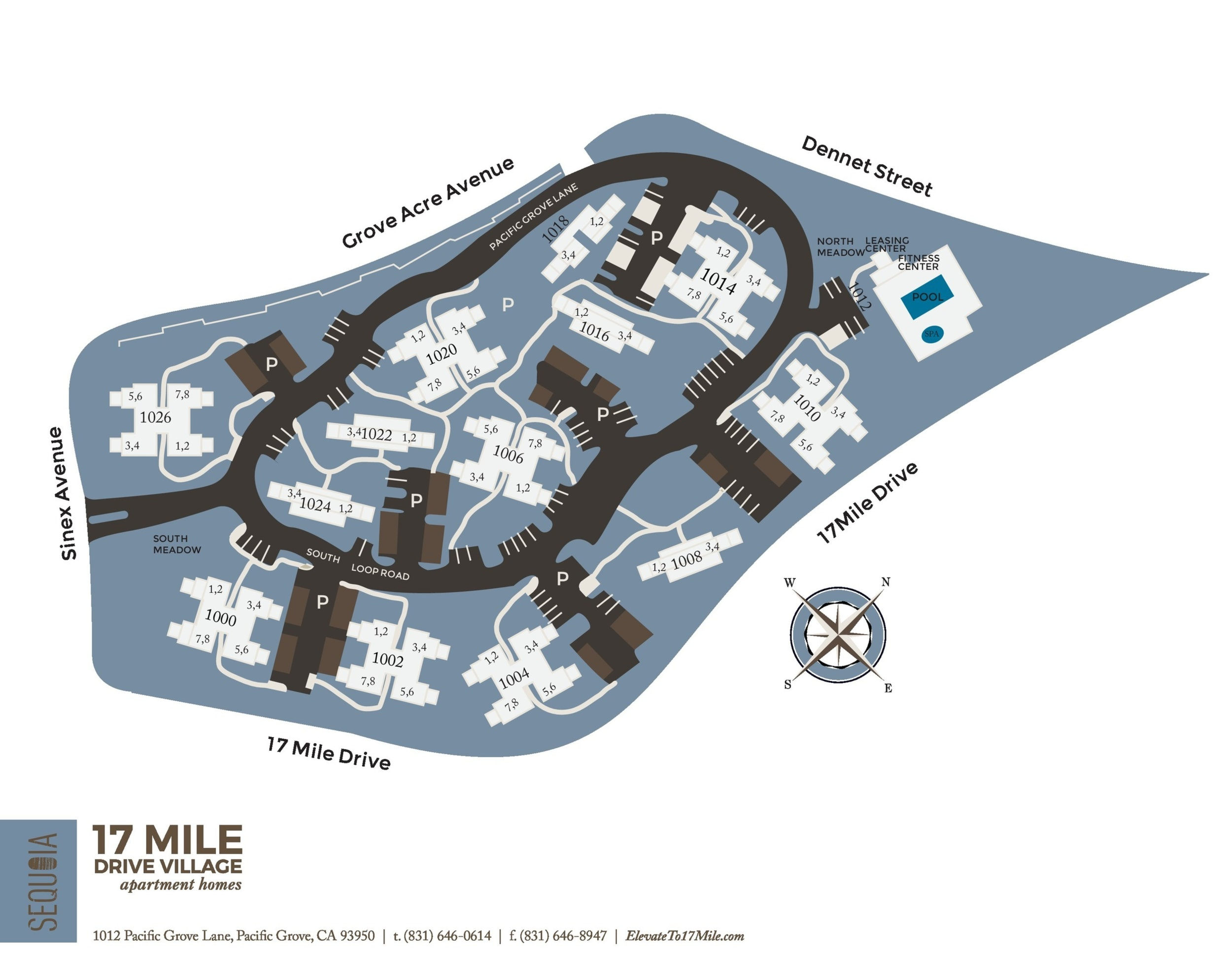Community site map for Seventeen Mile Drive Village Apartment Homes in Pacific Grove, California