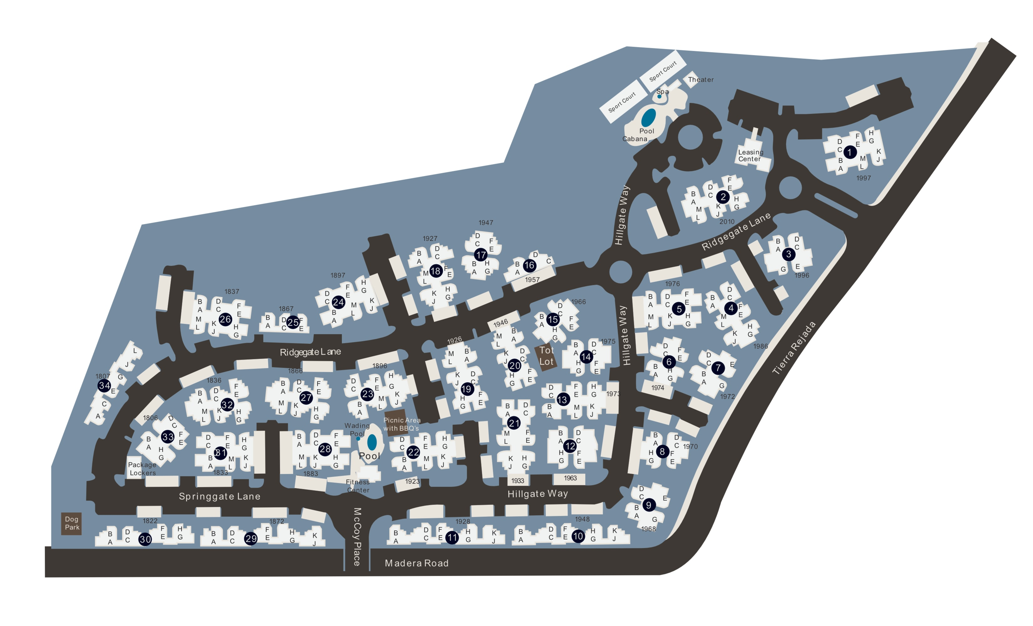 Community site map for Shadow Ridge Apartment Homes in Simi Valley, California