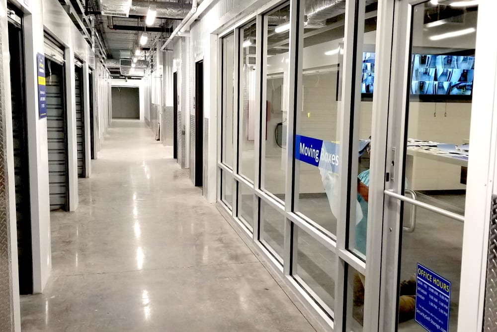 Indoor storage units at Security Self-Storage in Colorado Springs, Colorado