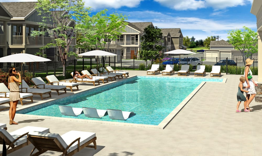 Luxurious swimming pool at Springs at Cobblestone Lake in Apple Valley, Minnesota