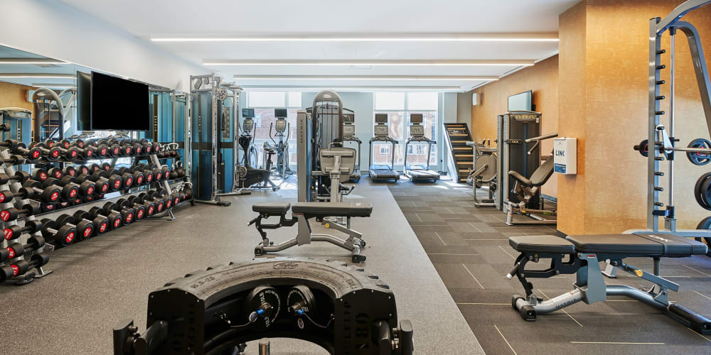 Fully equipped fitness center at The Link Evanston in Evanston, Illinois