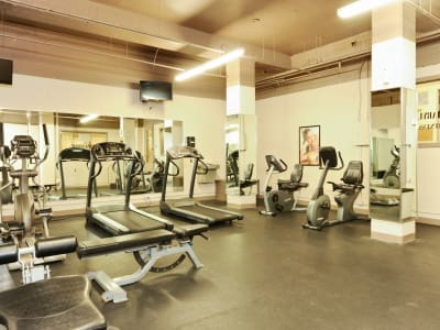The Marylander Apartment Homes offers a fitness center in Baltimore, MD