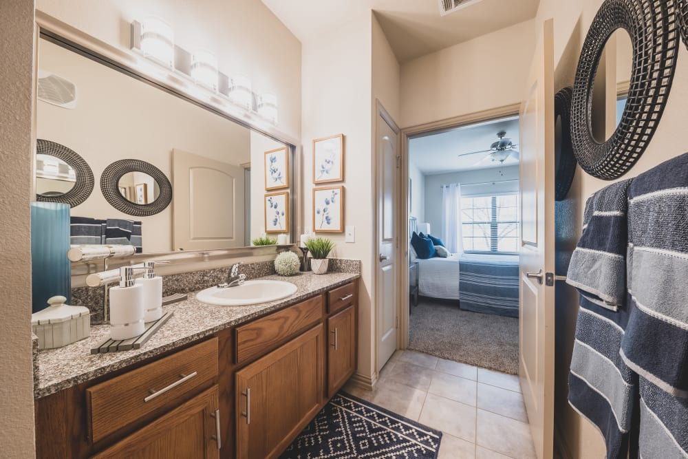 Main bathroom in model home at Evolv in Mansfield, Texas