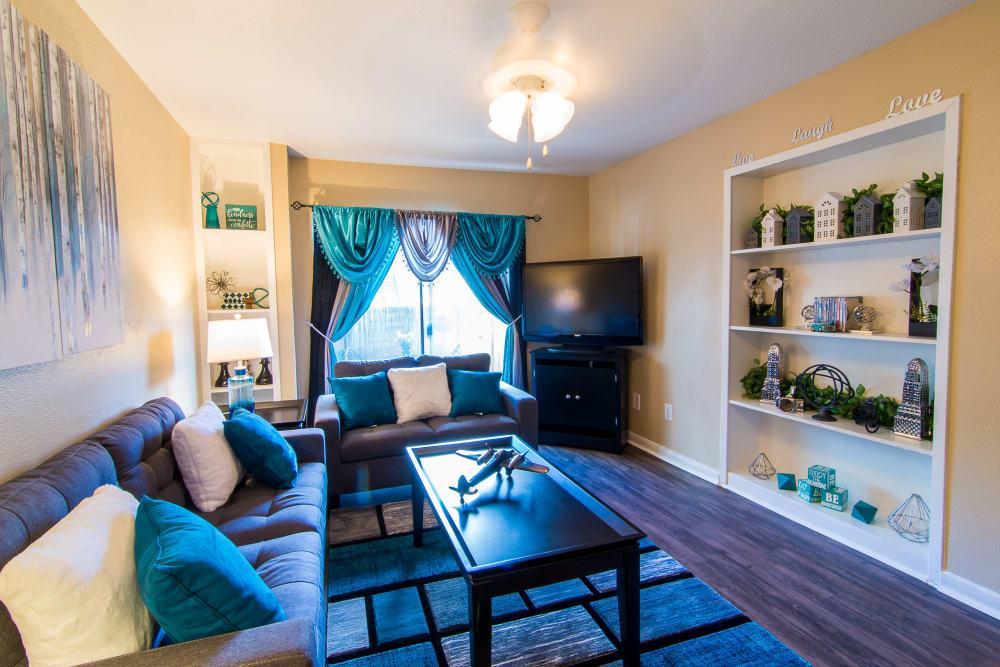 Sunlit living room at Parkside Apartments