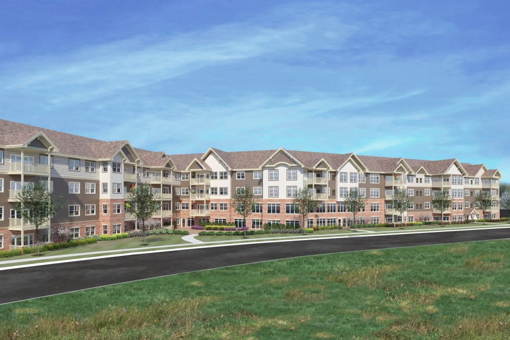 Rendering of main building at Applewood Pointe Maple Grove at Arbor Lakes in Maple Grove, Minnesota.
