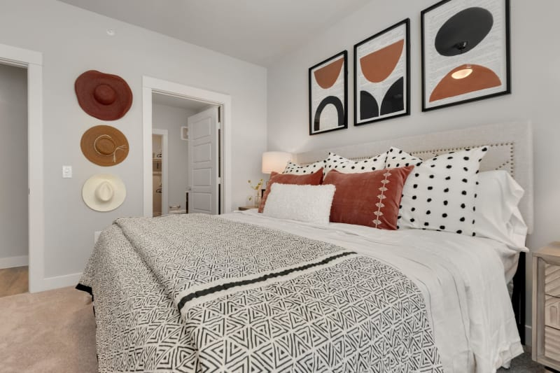 Spacious bedroom and bathroom layout at Domain at Founders Parc in Euless, Texas